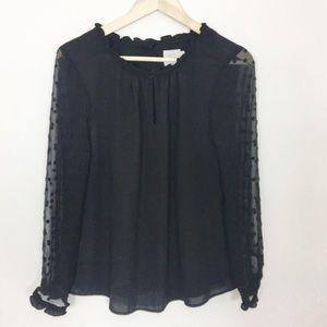 Anthro HD in Paris sheer sleeve blouse in black